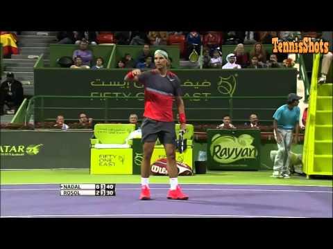 Rafael Nadal vs Lukas Rosol 1st Round ATP Qatar Open 2014 Highlights
