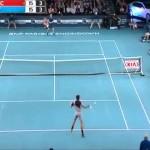 andy murray vs djokovic epic funny shot World Tennis Day new york 2014