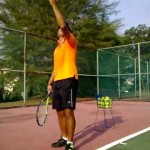Coach Ashaari teach tennis serve