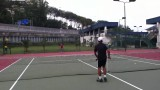 Tennis coach Ashaari teaching ladies beginner.