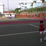 Tennis coach Hafizi giving drills for hand-eyes coordination