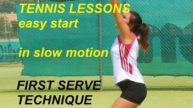tennis lessons easy start: first serve in slow motion ( flat serve )