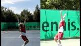 tennis slice serve – split screen and highspeed