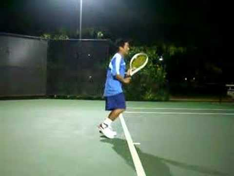 Tennis Demonstration:  Topspin Forehand with A High Set-up
